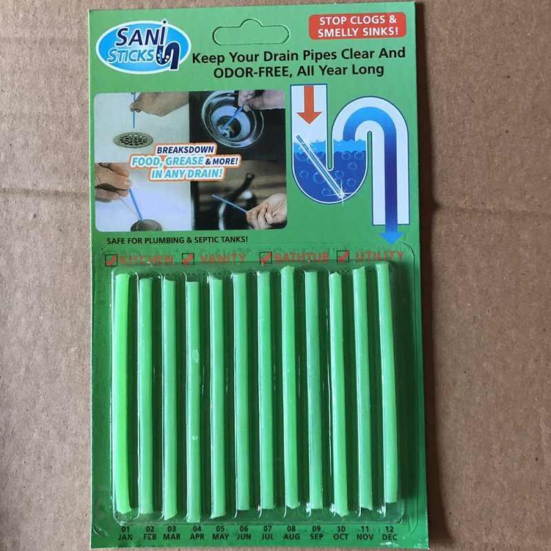 Sani-Descontaminación de aguas residuales, desodorante para el baño de la cocina, desagüe de bañera, barra de limpieza 12 Uds palos