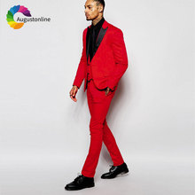 Custom Made Red Men Suits for Wedding Black Peaked Lapel Best Man Blazer Jacket 3Piece Pants Vest Slim Fit Groom Tuxedos