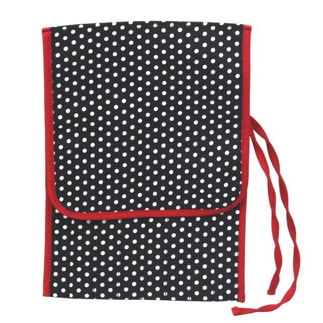 Dd 8 Lattice Black Fabric Polka Dots Sewing Crochet Hooks Bag