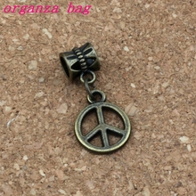 100pcs/lot Dangle Ancient bronze Peace Charm Big Hole Beads Fit European Bracelet Jewelry 12.5x28mm A-330a