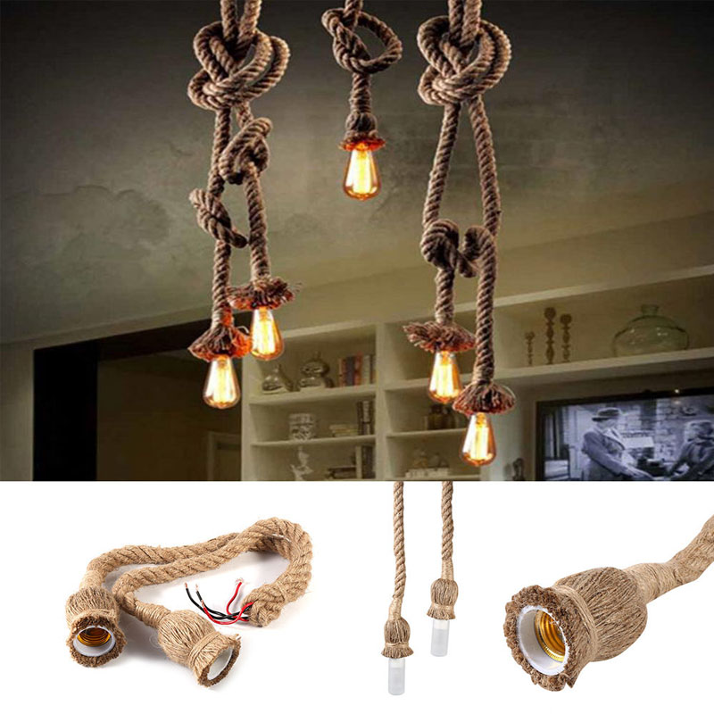 Abajur E27 Retro Hemp Rope Knitted Stainless Chandelier Light Ings Accessories Wedding Decoration Luminaria Lumiparty
