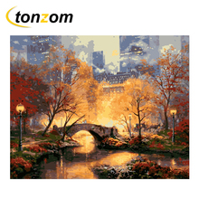 RIHE City Park Drawing By Numbers DIY Bridge Painting Handwork On Canvas Landscape Oil Art Coloring Home Decor 2018