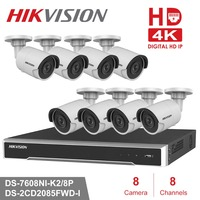 Hikvision 8CH HD Network POE NVR Kit CCTV Security System 8pcs 8MP Bullet Outdoor IP Camera IR Night Vision Surveillance Set