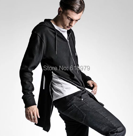 2015 new mens side zipper hoodies men kanye west cool jackets urban clothing justin bibber sweatshirts hip hop street - ifashion Shopping Mall store