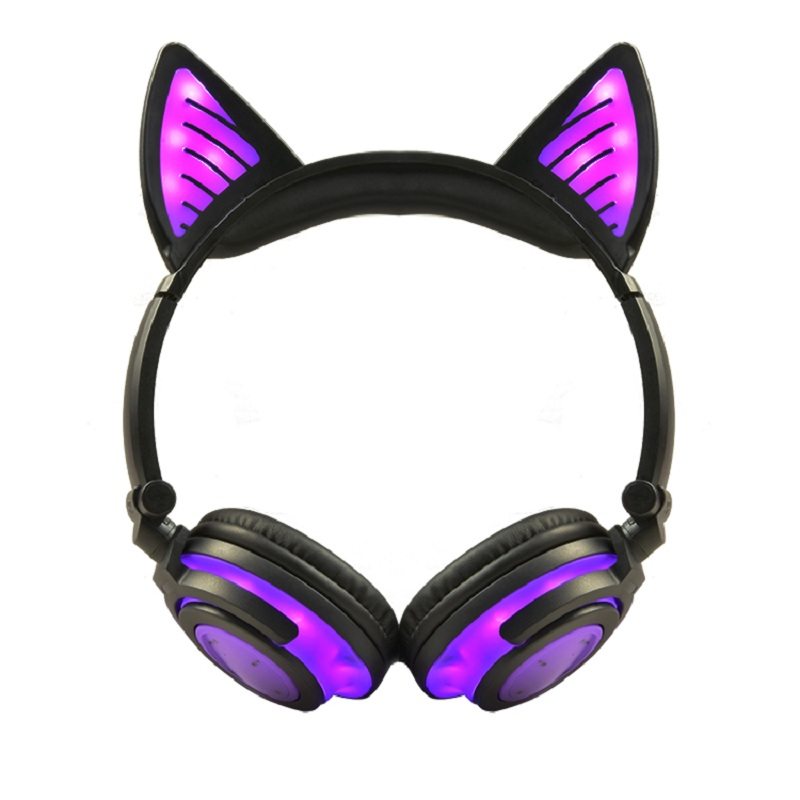 Cat Ear headphones LED Ear headphone Gaming Foldable Flashing Glowing Headset Gaming Earphones For PC Laptop Computer Phone