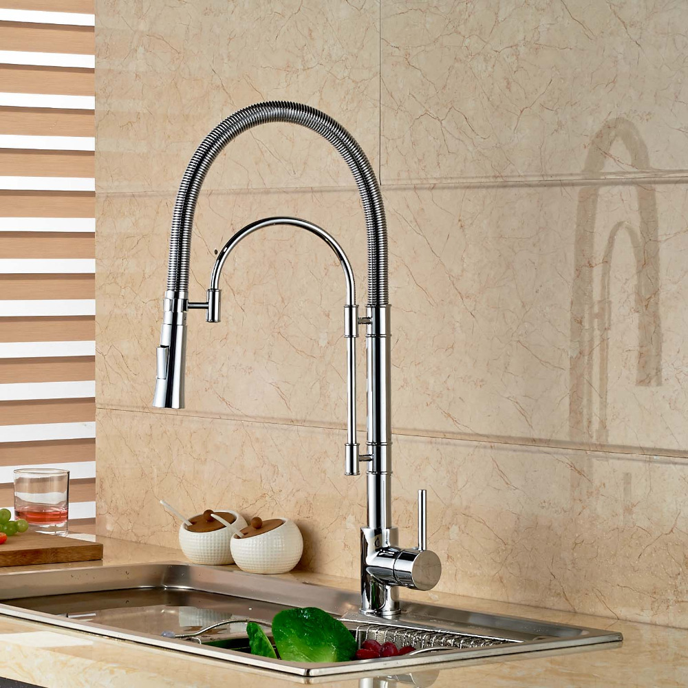 Modern Chrome Brass Spring Kitchen Faucet Swivel Spout Vessel Sink Mixer Single Handle Hole Sink Mixer Tap wholesale and retail luxury chrome brass 360 swivel spout kitchen faucet single handle hole vessel sink mixer tap