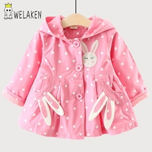 WeLaken 2018 New Arrive Baby Girls Coat Cute Rabbit Ear Hooded Kids Jacket Outerwear Children Top Clothing