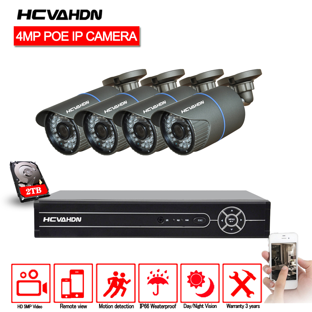 HCVAHDN 4CH 5MP 4MP 4K HDMI POE NVR Kit CCTV Camera System 4.0MP Outdoor Security IP Camera P2P Video Surveillance System Set image