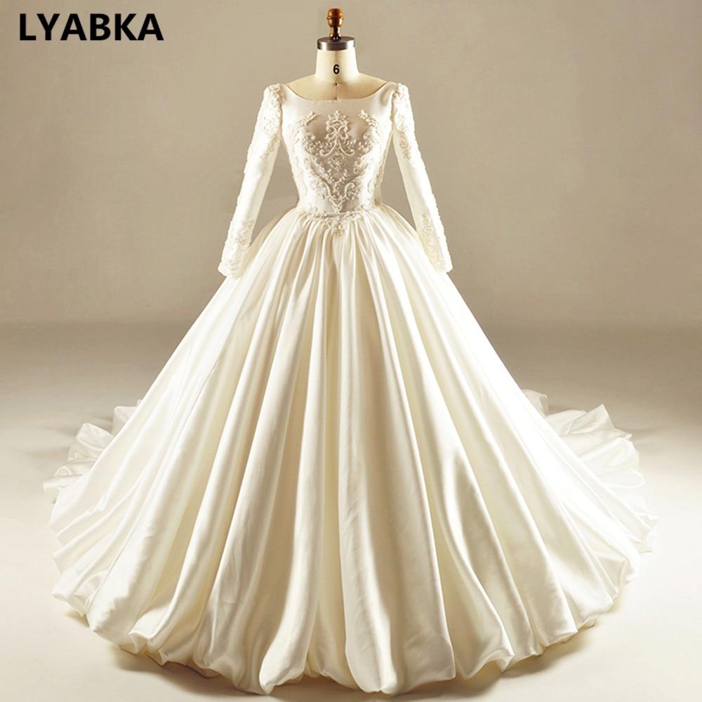 Scoop Neck Wedding Dress Robe De Mariee Custom Made Satin Wedding Dresses Long Sleeve Bridal Dresses 2019 New Vestidos De Novia
