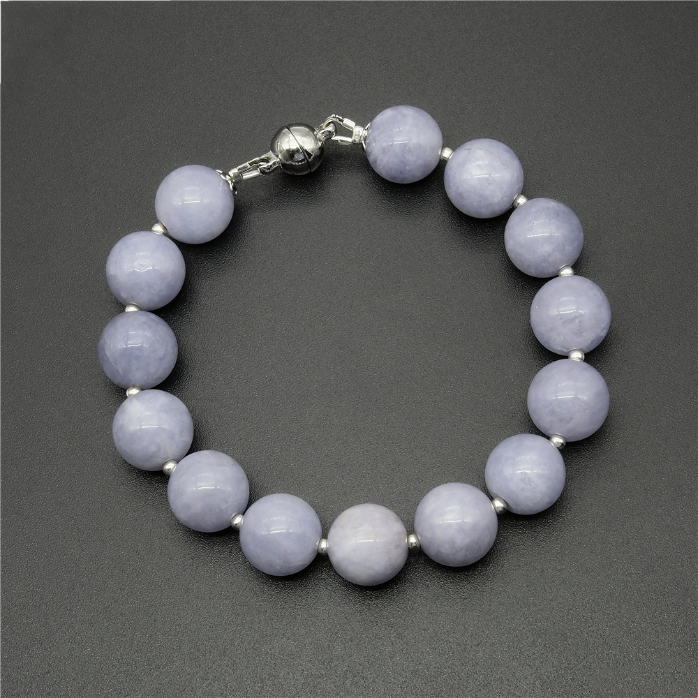 Vintage Classic Laboratory-created Natural Stone Jewelry Noble 12mm Aquamarines Beaded Bracelet for Women 20cm