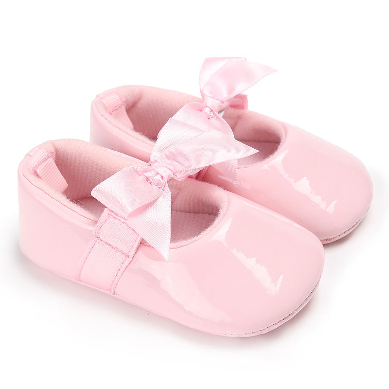 Newborn Baby Girls Princess Shoes Crib Baby Infant Toddler Kids First Walkers Patent Leather Mary Jane Big Bow Solid Shoes