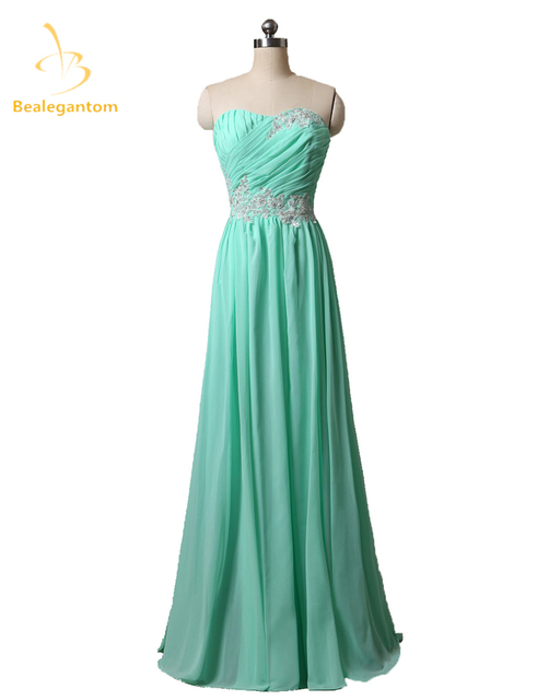Bealegantom Sexy Long Chiffon Evening Dresses 2018 With Beaded Appliques  Stock Formal Prom Party Gown Vestido c97efabbfd70