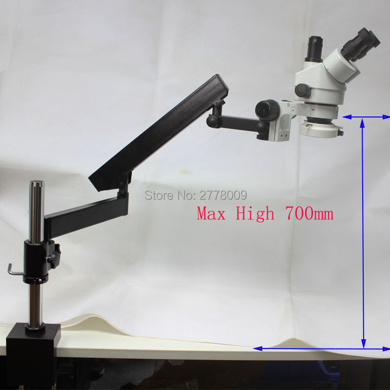 3.5X-90X Trinoculaire Inspection Industrielle Zoom Stéréo Microscope Bras Long Boom Pince Grand Stéréo Support De Table Avec Des Lumières LED