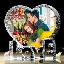 개인화 된 사용자 정의 크리스탈 유리 심장 빙산 사진 액자 엄마 아내를위한 최고의 선물 생일 결혼 기념일 기념품