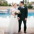 Elegant Beach Wedding Dresses 2017 Long Lace Appliques Half Sleeve O Neck Backless Chiffon Satin Bridal Gown Vestido De Noiva