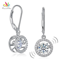 Peacock Star Classic Dancing Stone Dangle Drop Earrings Solid 925 Sterling Silver Wedding Gift CFE8130