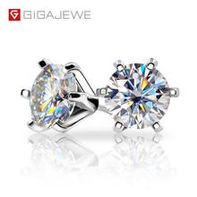 GIGAJEWE EF VVS1 Round Cut Total 2.0ct Diamond Test Passed Moissanite 18K Gold Plated 925 Silver Earring Jewelry Christmas Gift