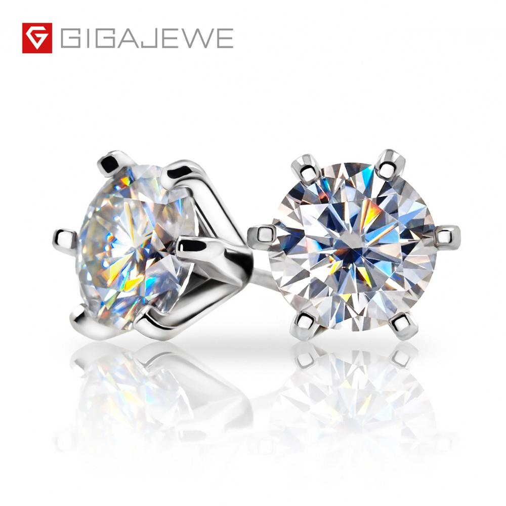 Gigajewe ef vvs1 라운드 컷 총 2.0ct 다이아몬드 테스트 통과 moissanite 18 k 골드 도금 925 실버 귀걸이 쥬얼리 여자 친구 선물-에서귀걸이부터 쥬얼리 및 액세서리 의  그룹 1