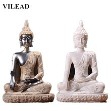 VILEAD Nature Sandstone Buddha Sculpture Thailand Statue Hindu Fengshui Figurine Meditation Miniatures Office Home Decor