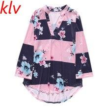 Women Three Quarter Sleeve Loose Shirt Floral Pattern Stand Collar Tops все цены