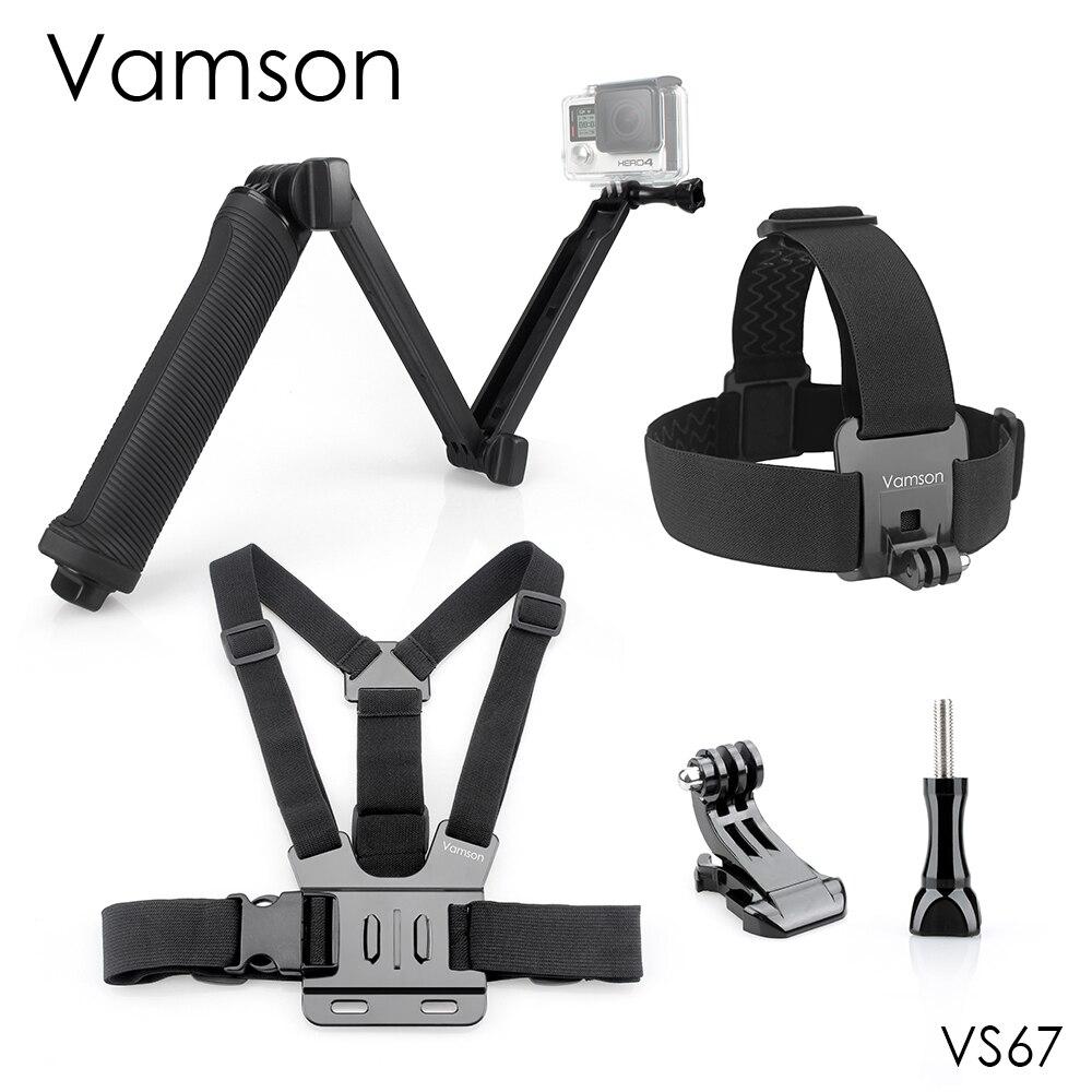 Vamson for Gopro Hero 5 Accessories Chest Strap 3 way Monopod Tripod Head Strap For eken h9 for Xiaomi for SJCAM for SJ4000 VS67
