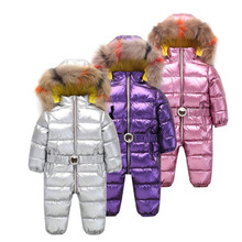 цена на winter jumpsuit clothing for baby Girls Clothes Duck down Jacket Light Coat For Girl Toddler Parka 3 colour Boy Snow Suit kids