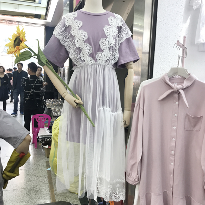 2018 Korean New Solid Short Sleeve Womens Long T-shirts + Patchwork Lace Mesh A Word Dresses Fake Two Pieces of Femme Dresses