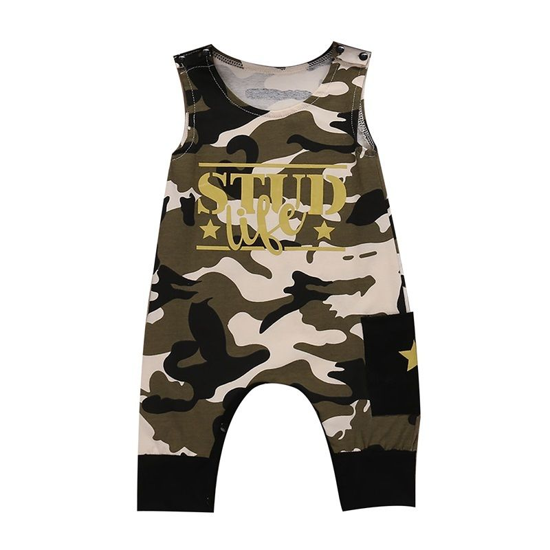 2017 New Rompers Sleeveless Cotton Blend Camouflage Jumper Cool Newborn Infant Baby Boys Romper Summer Jumpsuit Clothes Outfits