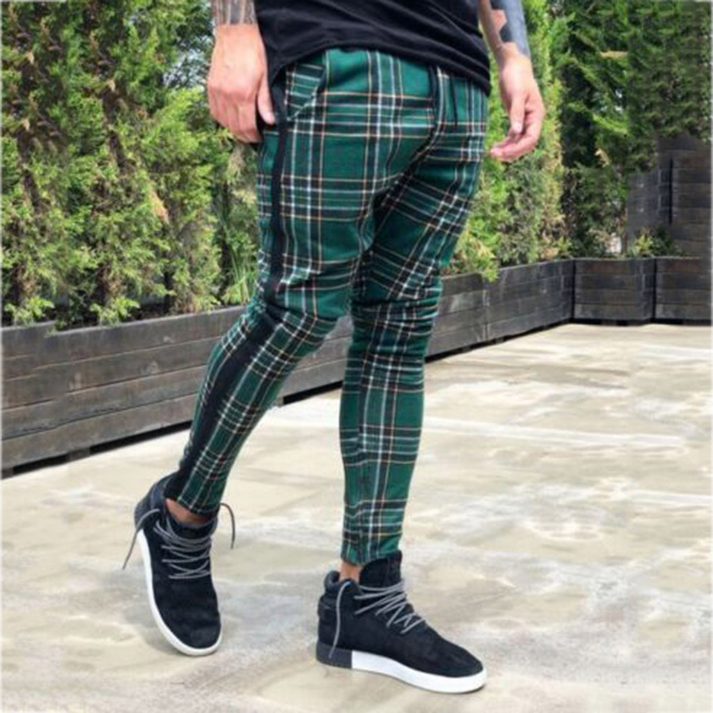 Men's Casual Ankle-Length Pants Men Trousers Jogger Pants Sport Pants Slim Fit Plaid Trousers Running Joggers Sweatpants 4.17