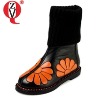 ZVQ women snow boots genuine leather mid calf boots good quality Winter low heel slip on fashion winter shoes flower color boat