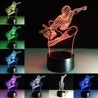 Superhero hombre figura Spiderman 3D lámpara 7 color gradiente LED noche luz niños lampara dormir creativo Festival regalos para los niños