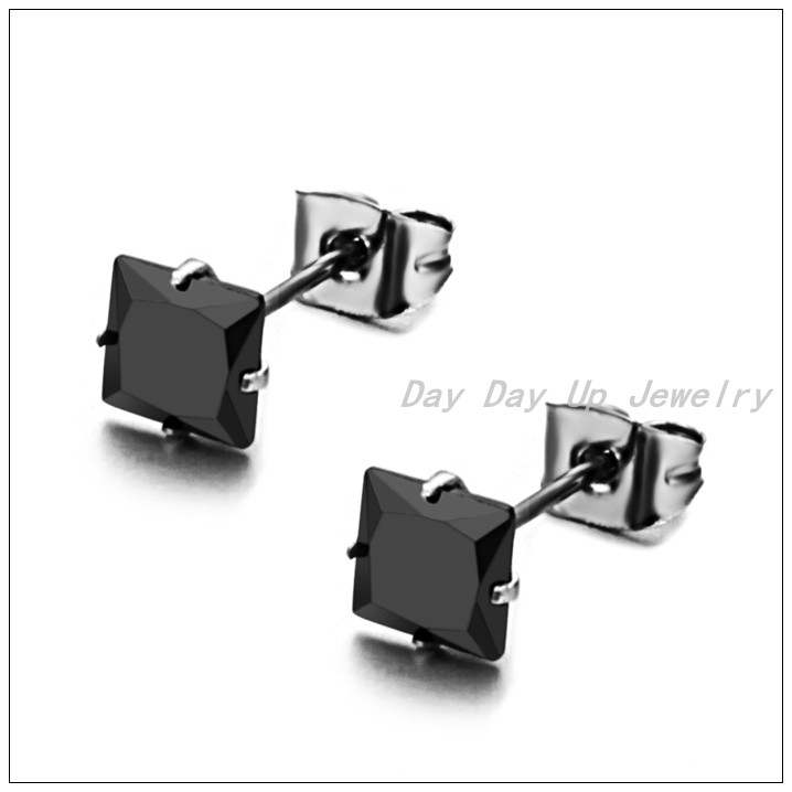 Hot Fashion Unisex Jewelry 6mm Clear Silver Black Cubic Zircon Stainless Steel Men Women Square Stud Earrings,High Quality