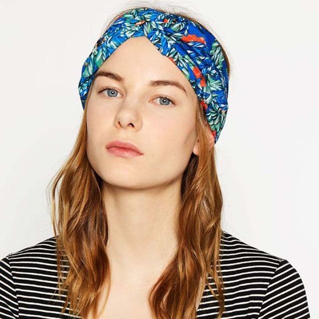 New Fashion Women Wide Turban Headband Multicolored Flower Cross Elastic  Headbands for Women Bohemian Floral Headbands 1PC 55c80f7b4bd