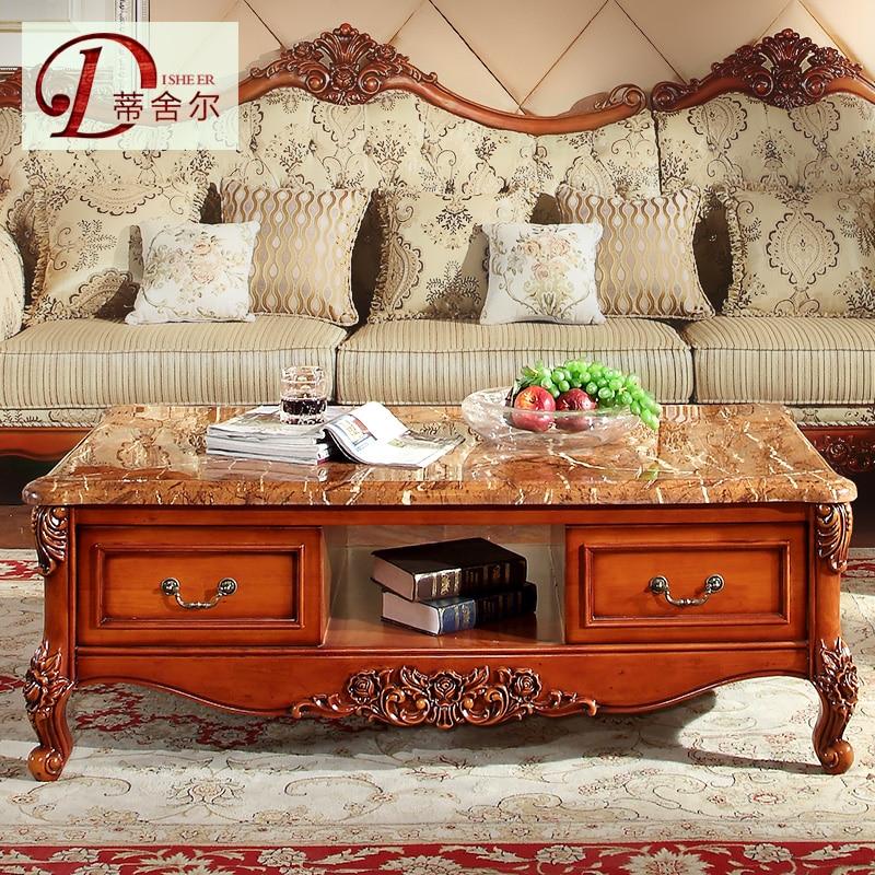 american retro wood coffee table marble living room tea