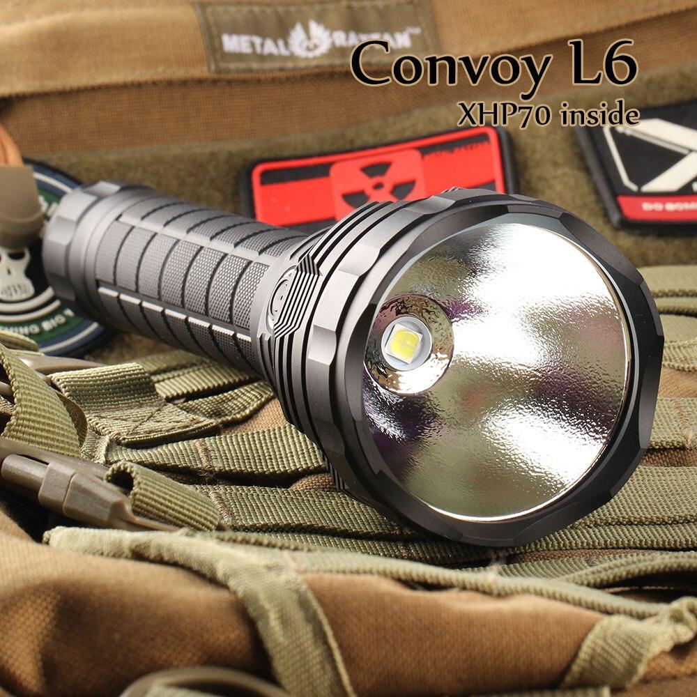 Convoy L6 LED Flashlight Cree XHP70 3800lm Waterproof Flashlight by 26650 Battery tt tf ths 02b hybrid style black ver convoy asia exclusive
