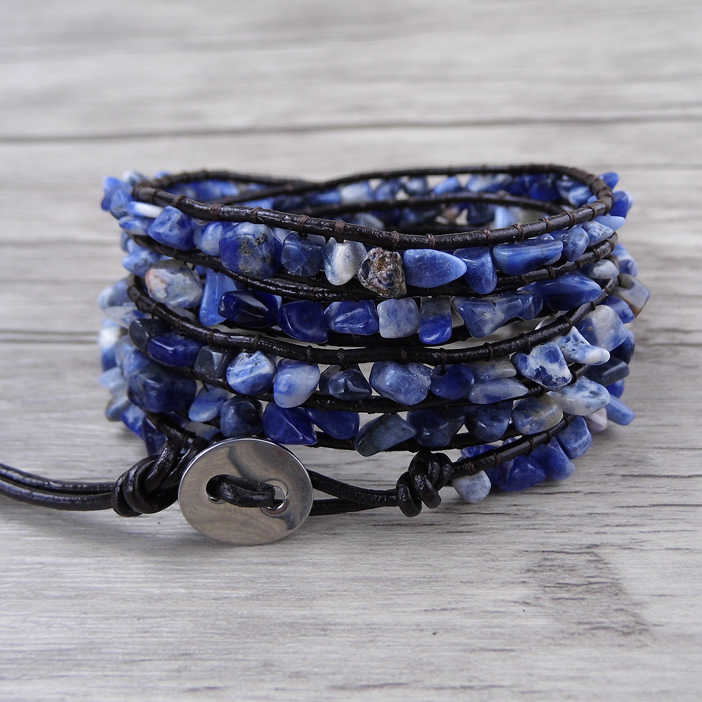 Us 15 99 20 Off Blue Bead Wrap Raw Stone Beads Bracelet Sodalite Yoga Leather Boho Jewelry In