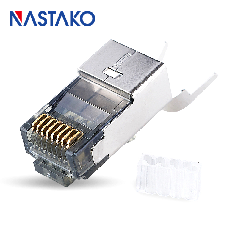 NASTAKO 8Pin Cat6a RJ45 Connector Cat 6a Crystal Plugs Shielded FTP RJ45 Modular Connectors Cat6e Network Ethernet Cable Jack 24 pcs rj45 modular network pcb jack 56 8p w led 4 ports