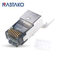 NASTAKO 50pcs Cat6a RJ45 Connector Cat 6a Crystal Plugs Shielded FTP RJ45 Modular Connectors Cat6e Network