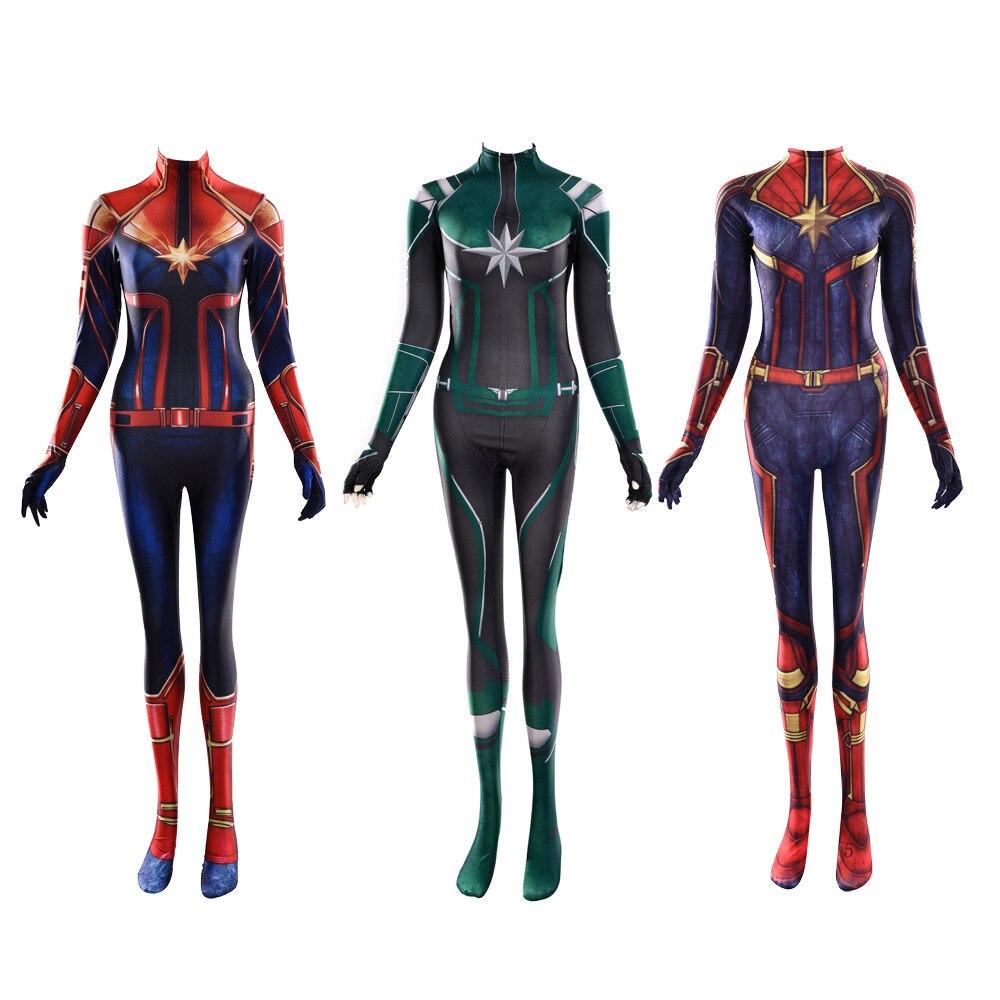 Avengers Endgame Ms Marvel Lycra Bodysuit Infinity War The Avengers 4 Quantum Realm Captain Marvel Carol Danver Cosplay Costume