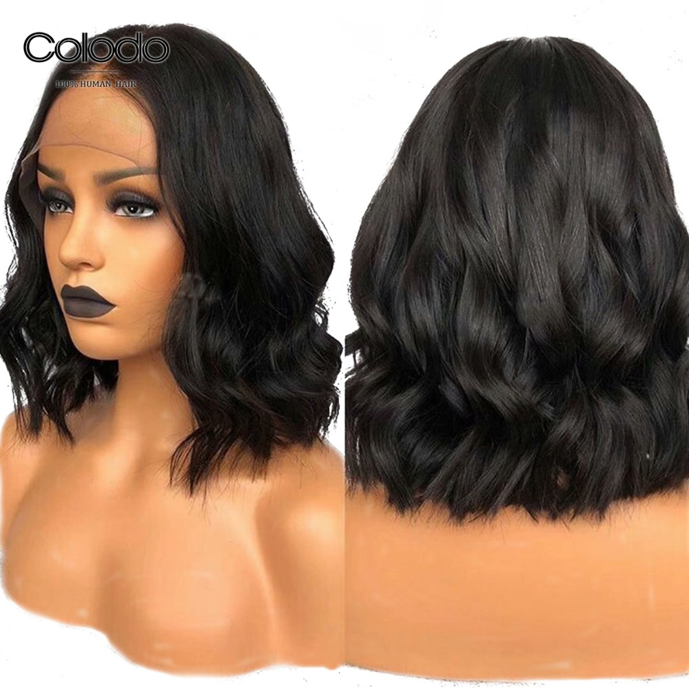COLODO 12 Inch Short Human Hair Wigs Brazilian Remy Hair Natural Color 150% Density 13x6 Bob Lace Front Wigs For Black Women invisible bra