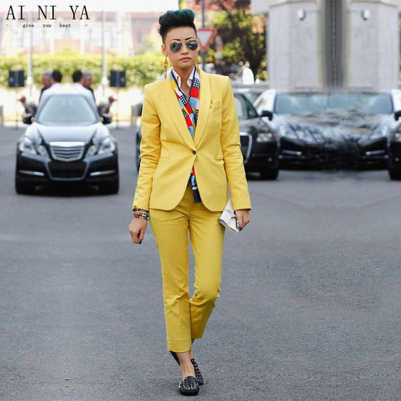 4f28d88e4395b91 Пользовательские желтый комплект из 2 предметов женские деловые костюмы  Блейзер 2017 модные офисные Единая Дизайн Женщины