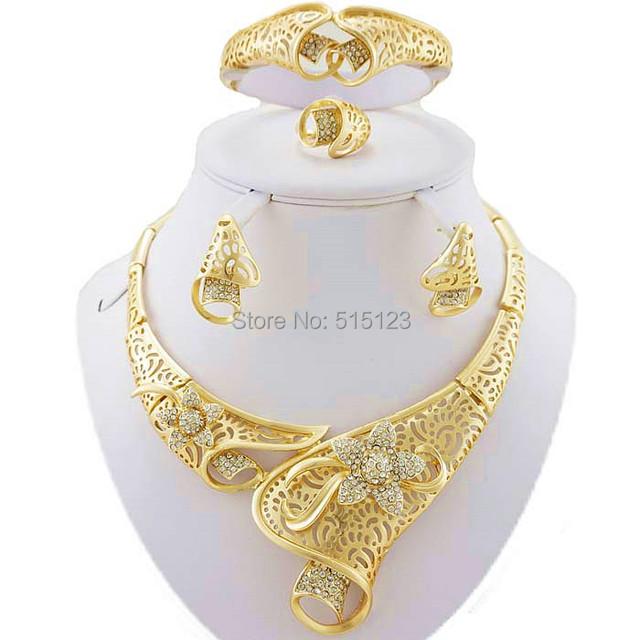 O envio gratuito de conjuntos de jóias africano conjunto de jóias festa de casamento conjunto de jóias de ouro de alta qualidade jóias finas colar de mulheres