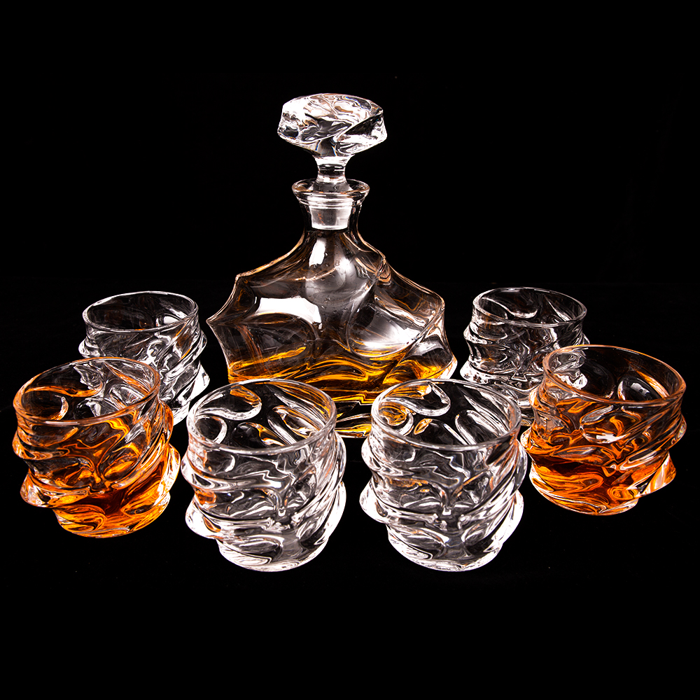 1 Decanter (750ML) 6 Whisky Glasses Beautiful Everest Mountain Decanter Set Limited Edition Luxurious Lead Free Crystal Glass mt everest whiskey glasses