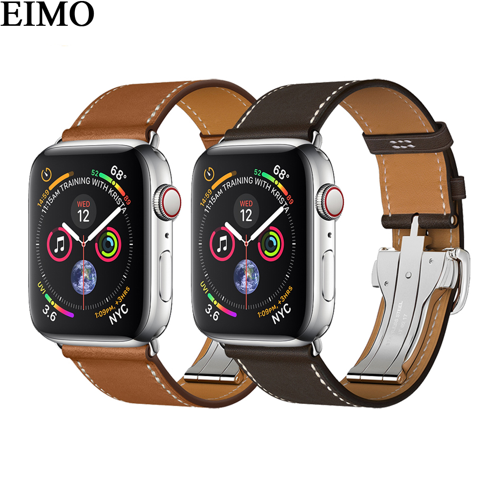 EIMO Strap For Apple Watch band 42mm 44mm Iwatch 4/3/2/1 38mm 40mm Deployment Buckle Genuine Leather Hermes Single Tour Bracelet urvoi deployment buckle band for apple watch series 3 2 1 strap for iwatch belt single tour for hermes watch band swift leather
