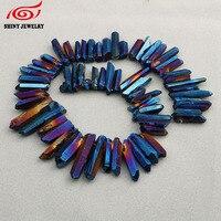 Matt Blue Titanium Quartz Crystal Points Bulk Raw Crystals Tusk Stick Beads Pendants Jewelry Supplies Natural Stone Pendant