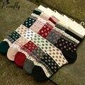 Clássico pequena impressão floral estilo meias das mulheres confortável Ocasional encantador meias de algodão Quentes 5 pares/lote