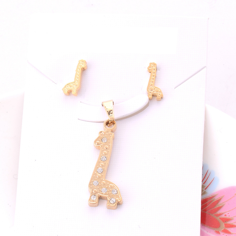 Lot Wholesale Boys Lovely Gold Color Stainless Steel Animal Giraffe  Pendant Necklaces Stud Earrings