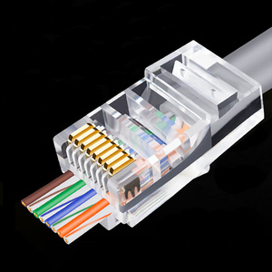 Image 2 - OULLX 20/50/100pcs RJ45 Connector 6U Gold PlatedPass Through Ethernet Cables Module Plug Network RJ 45 Crystal Heads Cat5 Cat5e