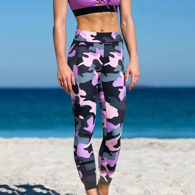 6069d563f370e3 Moda Fitness Sporting legginsy kobiety wysoka talia treningu Legging 2018 Push  Up kamuflaż kobiety Legging przygoda