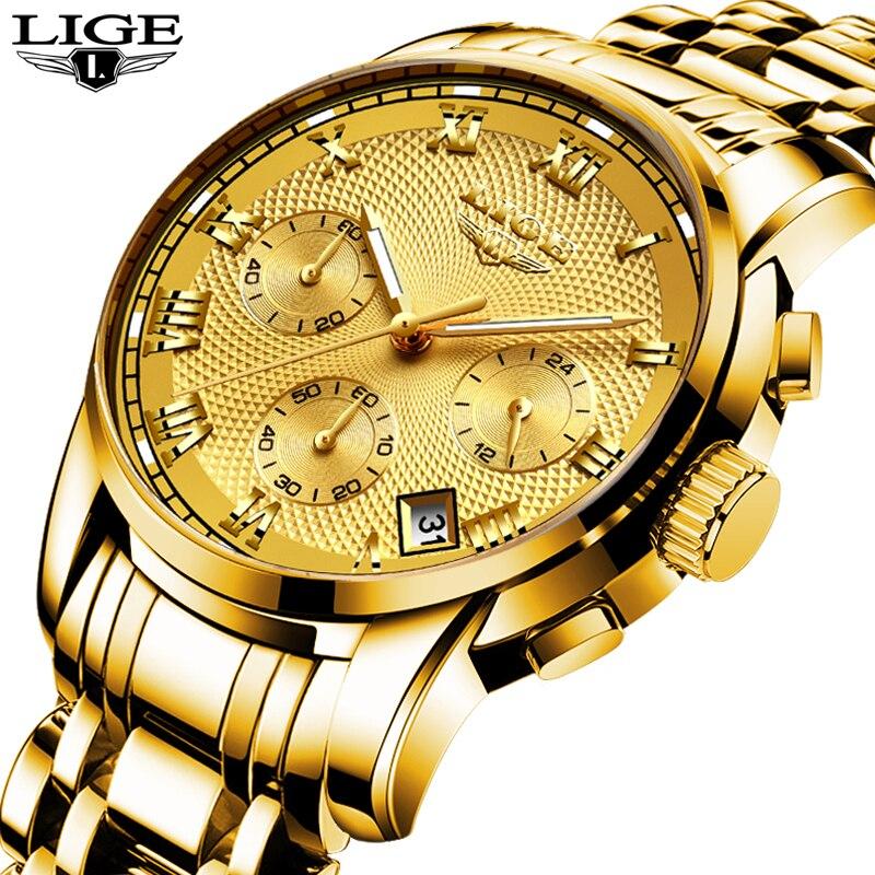 New LIGE Watches Men Luxury Brand Chronograph Men Sports Watches Waterproof Full Steel Quartz Men's Watch Relogio Masculino+BOX